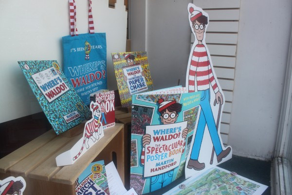 A display of &quotWhere's Waldo&quot merchandise is set up in the front window of The Briar Patch bookstore in downtown Bangor on July 13, 2012, in celebration of Waldo's 25th birthday. The Briar Patch is one of 250 independent bookstores across the country participating in the celebration by organizing community-wide search for 20 Waldo figurines throughout July.