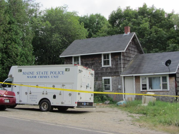 Maine State Police say one man was killed and a woman wounded in a shooting Monday morning at this home on Route 220 in Waldoboro.
