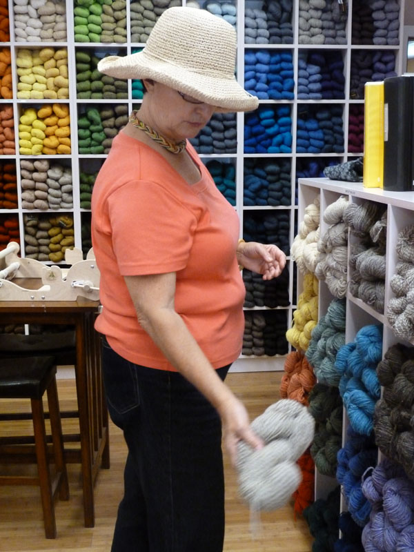 Jenny Carboy of Rockport checked out a grey skein at the new shop Over the Rainbow Yarn in Rockland recently.