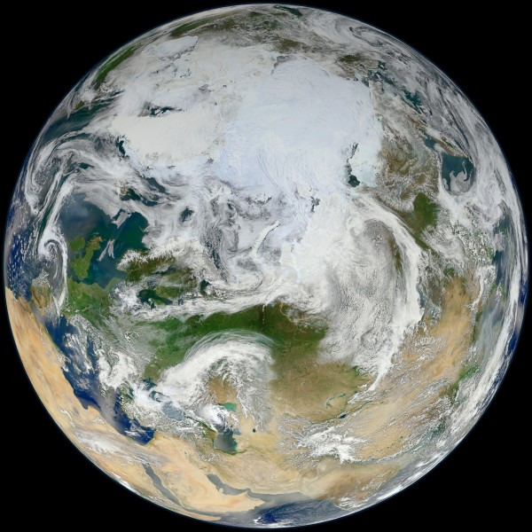 The Suomi NPP satellite provides a view of Earth showing the Arctic, Europe and Asia. The NPP satellite records key data that are critical for climate change science.