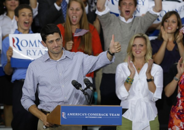 Vice presidential running mate Rep. Paul Ryan, R-Wis, gives the thumbs up at a welcome home rally Sunday, Aug. 12, 2012, in Waukesha, Wis.