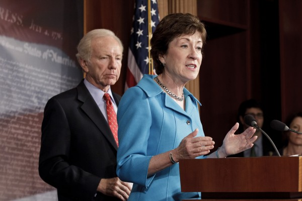 Sen. Susan Collins, R-Maine, the ranking member of the Senate Homeland Security Committee, right, accompanied by the committee's Chairman Sen. Joseph Lieberman, I-Conn., in July described the importance of a bill to protect critical U.S. industries and other corporate networks from cyberattacks and electronic espionage.