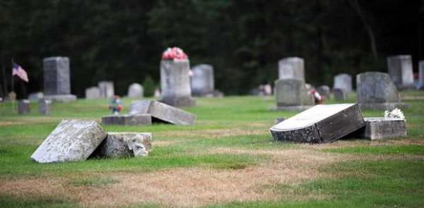 &quotIt looked like a tornado came through here,&quot Erica Poland said of the vandalism at Pleasant View Cemetery in Livermore Falls on Monday evening as she again checked the grave of her infant son buried there. Vandals swept through the area, breaking solar lights, flags, statues and knocking over the stones.