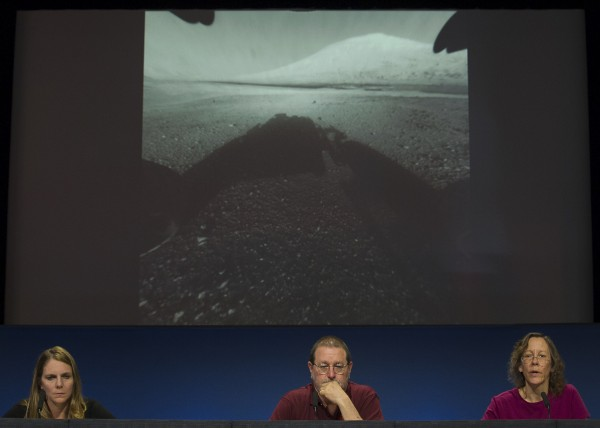 Jennifer Trosper, left, Michael Malin and Joy Crisp from the , Mars Science Laboratory take questions during a news briefing on the last data and imagery from Sol 1 at NASA's Jet Propulsion Laboratory in Pasadena, Calif., Monday, Aug. 6