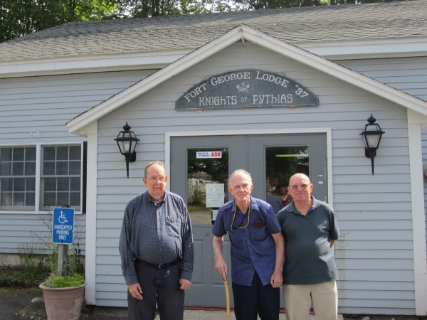 Philip Steadman, Fred Goldrup and Michael Sanborn stand outside the Knights of Pythias lodge in Brunswick. Lodge members say they may have to shut the doors after 27-year-old Michael Peterson of Lewiston allegedly embezzled more $62,000 from the fraternal organization.