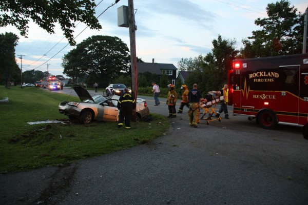 Emergency crews responded to a car crash Monday evening in Owls Head.