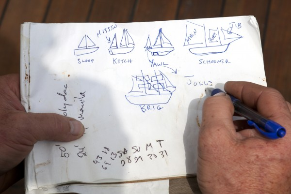 Captain Barry King draws various sailing vessels to help answer a passenger's question during a three-day cruise on Penobscot Bay off Camden, Maine.