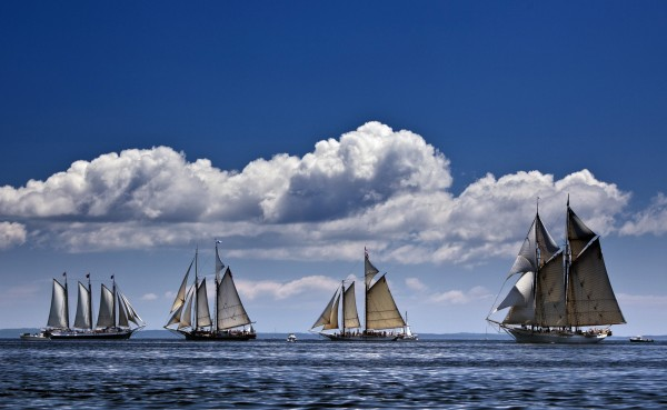The schooner Mary Day, right, sails in a schooner race with other members of Maine's windjammer fleet off Rockland, Maine, in July. The 90-foot Mary Day, which is celebrating its 50th season, is the first schooner in the Maine windjammer fleet to be built specifically to accommodate passengers.