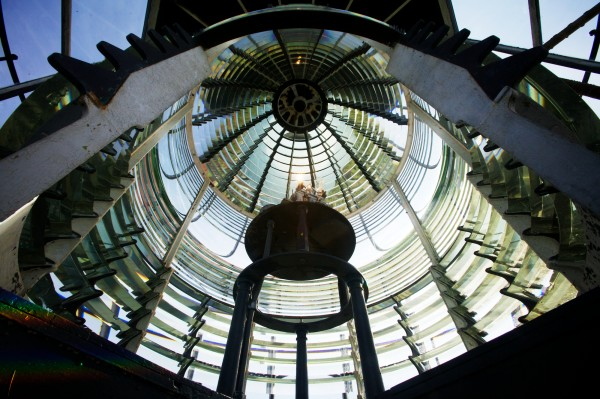 The Seguin Island Light Station's extremely rare First Order Fresnel lens is comprised of 282 individual glass prisms and stands 12 feet tall. It's designed to bend and magnify light into a single concentrated beam. It was installed in 1857.
