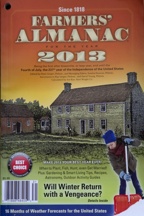 This photo made Thursday, Aug. 23, 2012, shows a copy of the 2013 Farmers' Almanac, published in Lewiston. The Almanac says people from the Great Lakes to northern New England should get out their long johns and dust off their snow shovels because it's going to be cold and snowy this winter.