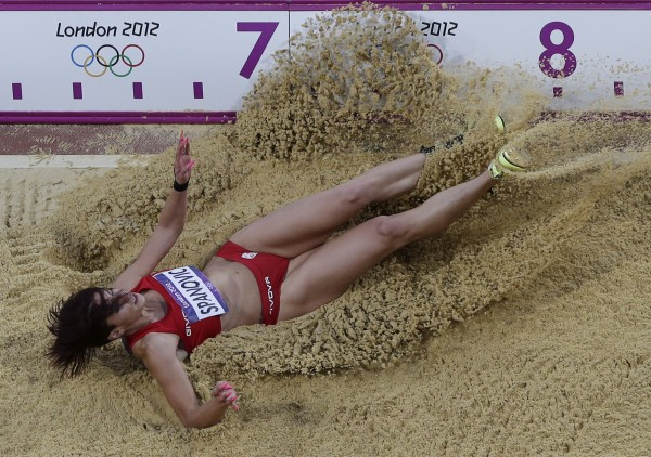 Serbia's Ivana Spanovic competes in the women's long jump during the athletics in the Olympic Stadium at the 2012 Summer Olympics, London, Wednesday, Aug. 8.