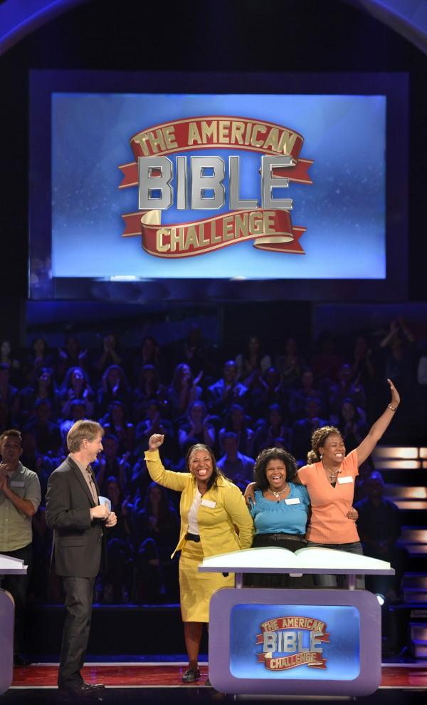 Members of Team Minnie's Food Pantry of Plano, Texas, competes on the American Bible Challenge hosted by Jeff Foxworthy. The show will begin airing at 8 p.m. Thursdays on Aug. 23 on GSN, formerly the Game Show Network.