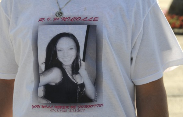 Many of the mourners who attended Sunday's memorial service in Bangor for Nicolle Lugdon wore remembrance T-shirts featuring a photo of Lugdon.