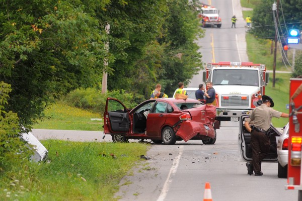 At least two vehicles were involved in an accident that reportedly sent four people to the hospital on Union Street in Hermon early Saturday afternoon.