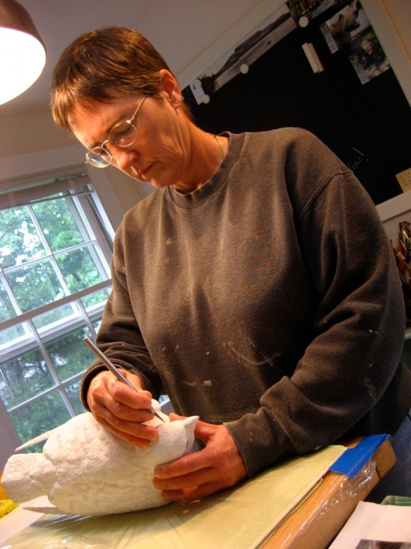 Taking a 1995 class in bird carving at the Wendell Gilley Museum in Southwest Harbor inspired a new career for Sue Talbot, who now carves exquisite birds from tupelo wood.