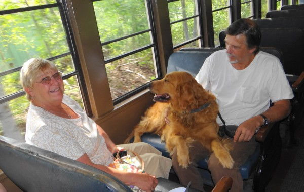 Susan and Tom Wentworth of Pembroke relaxed in one of the Downeast Scenic Railroad's restored passenger coaches on Saturday, Aug. 25, 2012 during a 90-minute ride on the Ellsworth-based excursion line.
