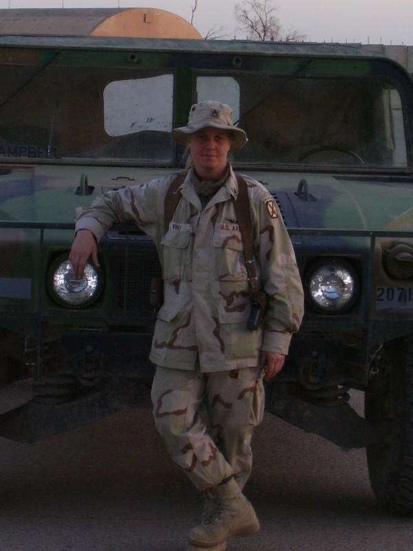 Army National Guard Staff Sgt. Jessica Wing, who has deployed overseas at least five times, is pictured during her first deployment in 2003 to the Middle East in this undated photo.