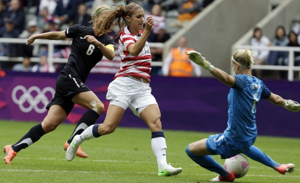 United States' Alex Morgan, center, attempts to pass over New Zealand's Jenny Bindon, right, during their quarter-final women's soccer match at the 2012 Summer Olympics, Friday, Aug. 3.