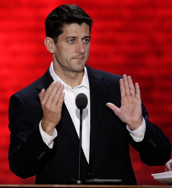 Republican vice presidential nominee, Rep. Paul Ryan of Wisconsin, checks out a TelePrompTer during a podium sound check at the Republican National Convention in Tampa, Fla., on Wednesday, Aug. 29.