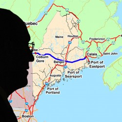 Silhouette of Cianbro Corporation chairman and CEO Peter Vigue with map backdrop of the proposed east-west highway.