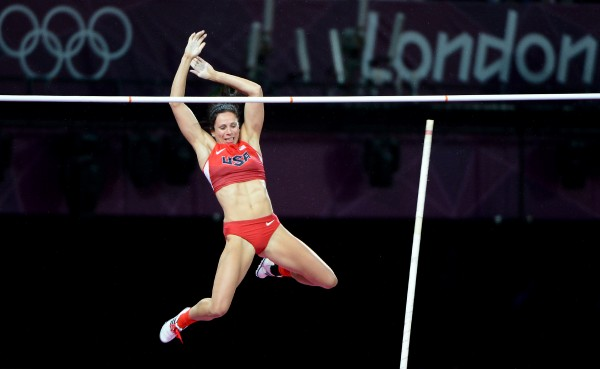 USA's Jennifer Suhr clears the bar to win the gold medal in women's pole vault during the Summer Olympic Games in London, England on Monday, Aug. 6.
