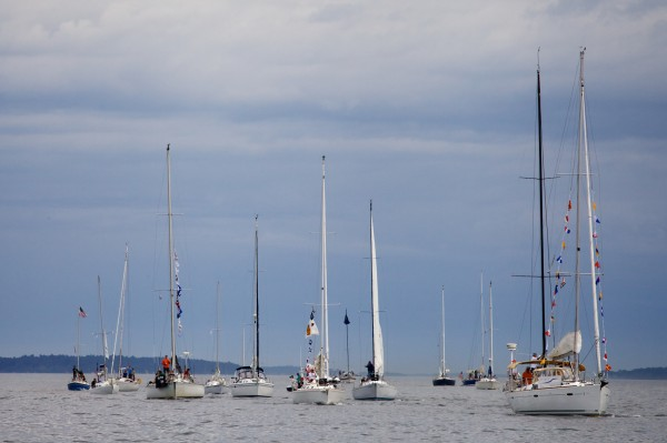 Boats line up for the start of the MS Harborfest Regatta on Casco Bay on Saturday Aug. 18, 2012.