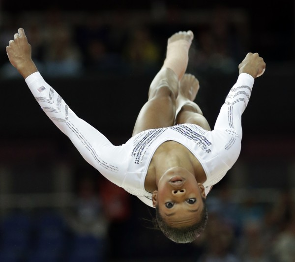 U.S. gymnast Gabrielle Douglas performs on the balance beam during the artistic gymnastics women's apparatus finals at the 2012 Summer Olympics, Tuesday, Aug. 7.