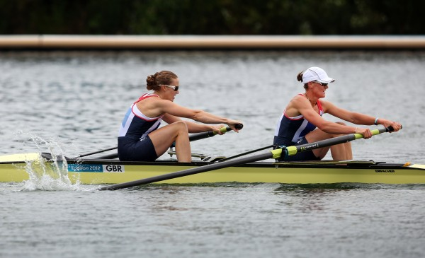 Britain's Heather Stanning, front, and Helen Glover compete to win the gold medal in the women's rowing pair event at the 2012 London Summer Olympics in Eton Dorney, near Windsor, England, Wednesday, Aug. 1.