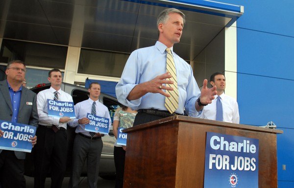U.S. Senate candidate Charlie Summers holds a press conference at Quirk Auto Park in Bangor on Tuesday, Aug. 14, 2012.
