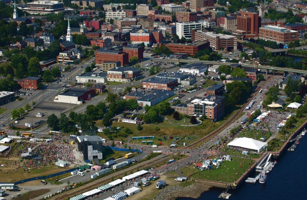 Aerial photo shot of the American Folk Festival on the Bangor Waterfront during a flyover between 2:30-3 p.m Saturday, Aug. 25, 2012.