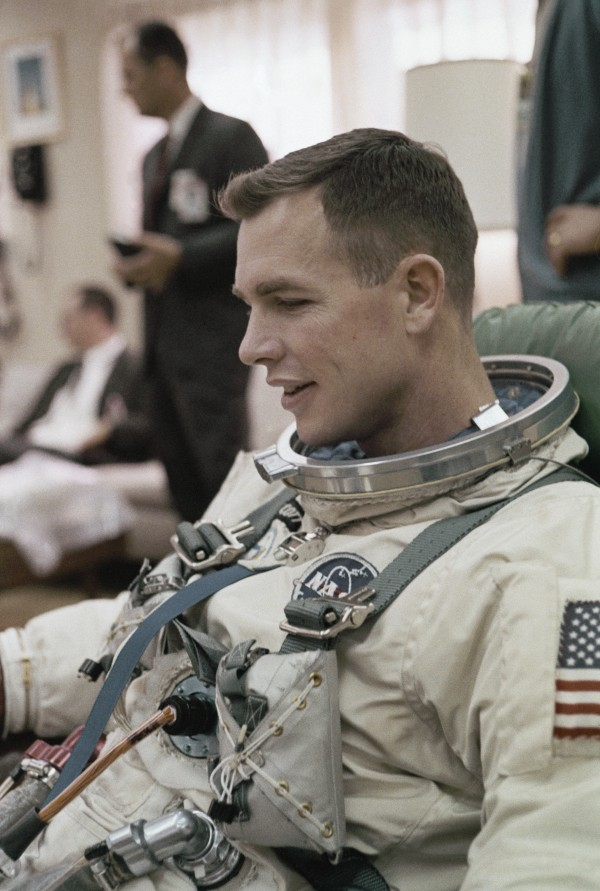 In this March 16, 1966 file photo, Astronaut Neil A. Armstrong is shown at Complex 19 for a simulated test in preparation for flight.  The family of Neil Armstrong, the first man to walk on the moon, says he has died at age 82.