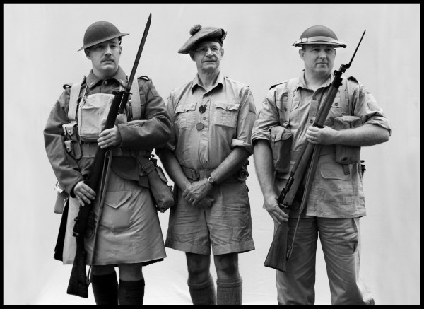 Michael Pearson, left, of Sanford portrays a World War I infantryman in the Black Watch of Montreal. Paul Levasseur, center, of Hudson, N.H., and Eric Jones, of Jefferson, represent World War II infantrymen in Canada