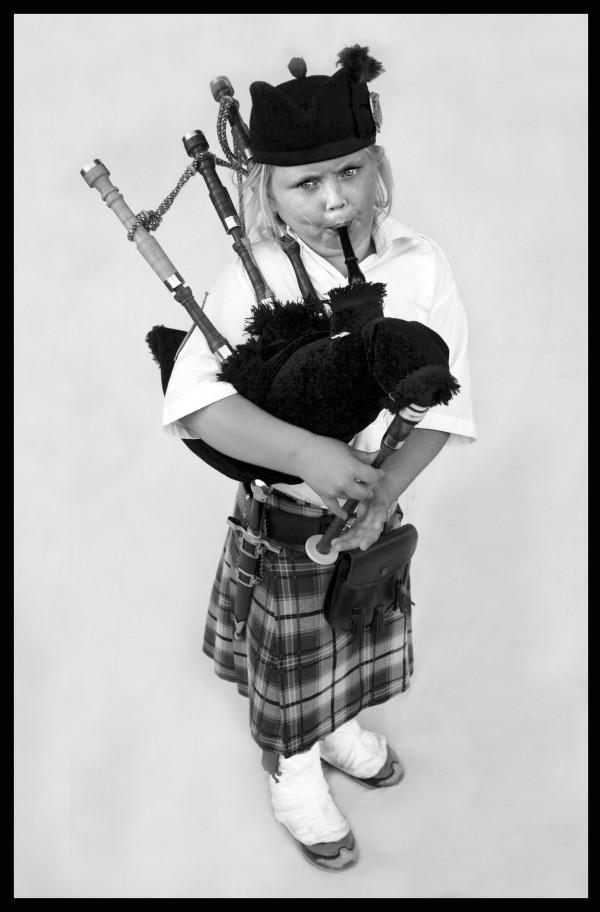 Bagpiper Logan Andrick, 9, of Portland, is the youngest member of Maine's Dunlap Highlap Band. Andrick, a Cub Scout, also competes in Highland wrestling and caber toss.