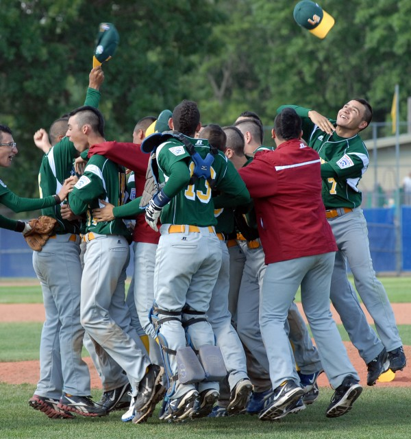 Guatemala celebrates its 6-3 victory over the U.S. West in the Senior League World Series championship game at Mansfield Stadium in Bangor on Saturday afternoon.