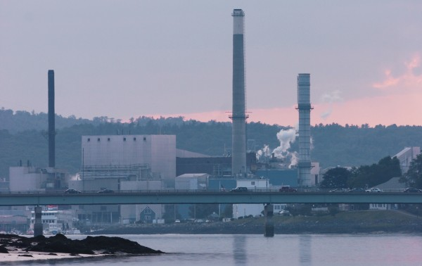 The Verso Corp. paper mill in Bucksport is seen from the waters of the eastern channel of the Penobscot River in July 2008.