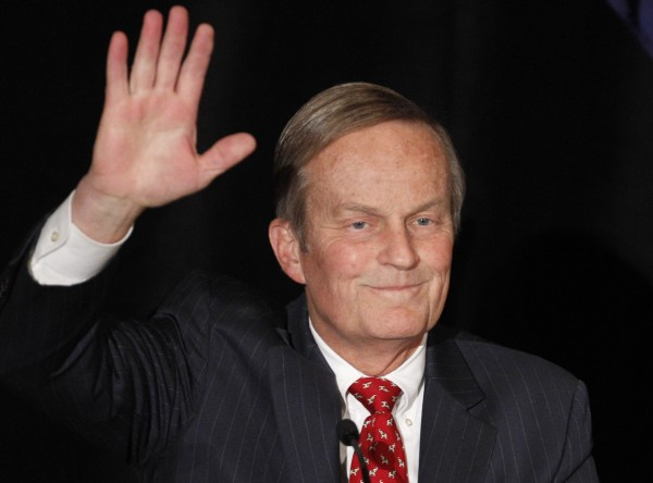 Senate candidate Rep. Todd Akin, R-Missouri, waves to the crowd while introduced at a senate candidate forum during a Republican conference in Kansas City, Mo. in February 2012. The two losing candidates in the Republican primary for Missouri's U.S. Senate seat are getting renewed attention after Akin's comments about rape on Sunday, Aug. 19, 2012.