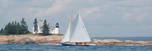 Each Saturday in July and August, the nine sloops in the Winter Harbor Knockabout fleet compete for regatta bragging rights, sailing courses that sometimes take them by the long-dormant lighthouse on nearby Mark Island.