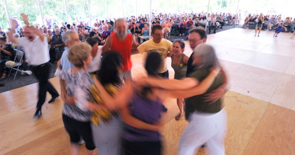 People dance to the music of the Old Bay Ceili Band at the Dance Pavilion during the 2012 American Folk Festival in Bangor on Saturday, Aug. 25, 2012.