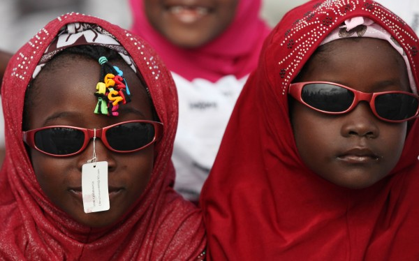 Nigeria Muslims attend Eid al-Fitr prayers at the Obalende prayer ground in Lagos, Nigeria, on Sunday, Aug. 19, 2012. Muslims throughout the world celebrate the Eid al-Fitr holiday after the holy fasting month of Ramadan.