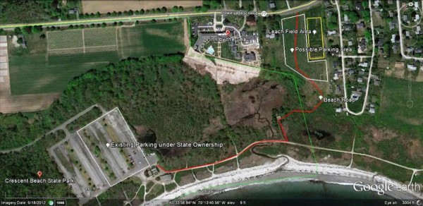 The State Department of Conservation's latest plans on a new parking lot and access road for a smaller Crescent Beach State Park if negotiations to lease the Sprague Corp. property fail before the lease expires in April.