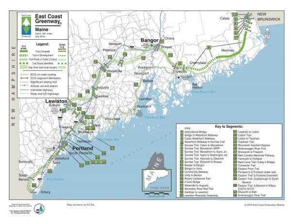 The map of the East Coast Greenway in Maine as of August 2012.