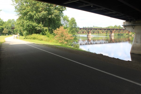The Androscoggin River Bicycle and Pedestrian Path, a 2.63-mile paved path along the Androscoggin River in Brunswick, is included in the route of the East Coast Greenway on Aug. 14, 2012. The path has lanes for bicyclists and walkers.