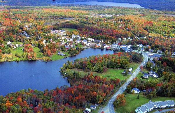 The small town of Monson is seen from the sky in the 1990s. Situated on the Appalachian Trail, Monson has welcomed and aided hikers for decades and became the first Appalachian Trail Community in Maine in the summer of 2012.