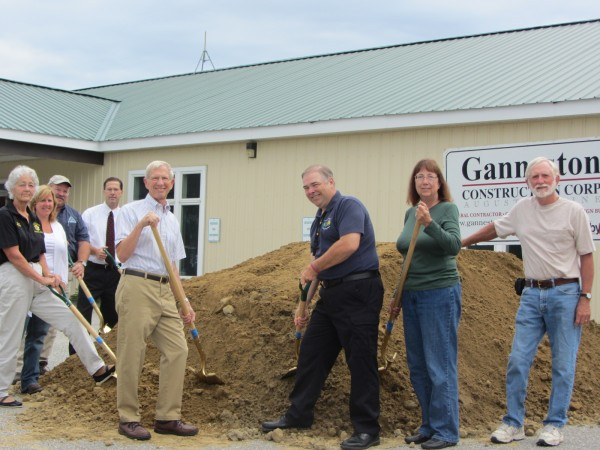 Knox County officials conducted a formal groundbreaking ceremony Tuesday morning at 301 Park St. in Rockland for the expansion of the county's public safety complex. The current jail and sheriff's office is located adjacent to this building that was most recently the offices of VillageSoup. Participating in the groundbreaking are Sheriff Donna Dennison (from left), Ganneston Construction Corp. owner Stacey Morrison, Emergency Management Agency Director Ray Sisk, County Administrator Andrew Hart, Commission Chairman Roger Moody, Communications Director Linwood Lothrop, Commissioner Carol Maines and Commissioner Rick Parent Jr. The sheriff's patrol, communications, and EMA are expected to move into the building in mid-January.