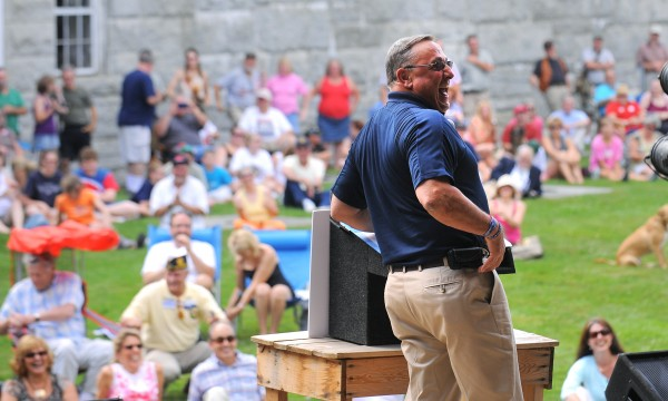 Gov. Paul LePage laughs during his speach during the Economic Freedom Festival at Fort Knox in Prospect in July 2012.
