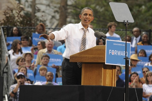 President Barack Obama speaks to a large crowd at Colorado College in Colorado Springs, Colo., in front of  Cutler Hall on Thursday, Aug. 9.