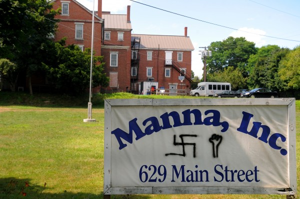 The sign of Manna Ministries in Bangor, seen Monday, Aug. 6, 2012, was defaced over the weekend.