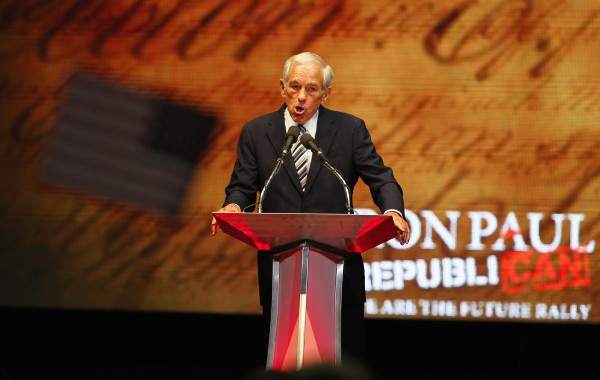 Rep. Ron Paul (R-Texas) speaks during his We are the Future Rally at the University of South Florida Sun Dome on Sunday, August 26, 2012, in Tampa, Florida.