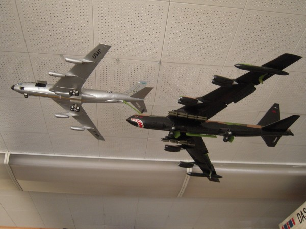 Scale model aircraft on display at the Loring Military Heritage Center at the former Loring Air Force Base in Limestone.
