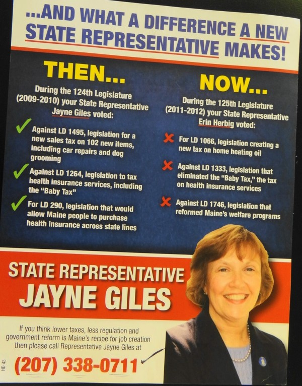 The back of a flyer sent by the Maine Republican Party to residents of the Belfast-area state House district.